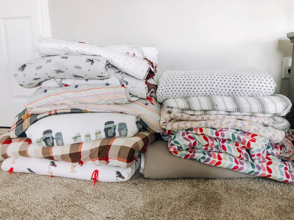 stack of homemade flannel blankets
